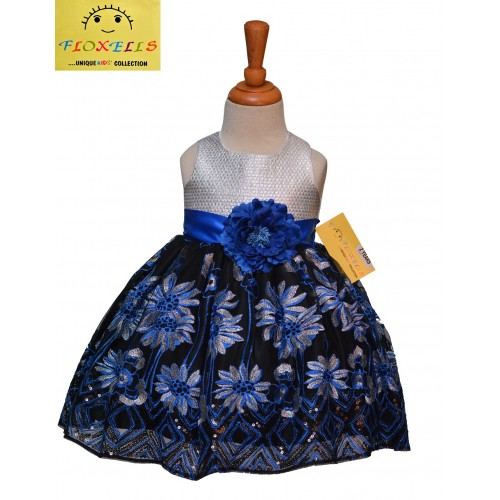 Royal Blue Black And Silver Lace Dress